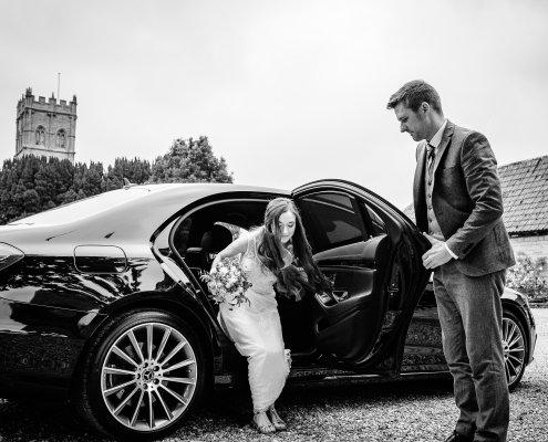 Bride arriving at the wedding venue